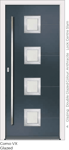 Anthracite Grey Aluminium Enrance Door in Como-VX-Glazed Style with Double Glazing and Centre Slam Lock