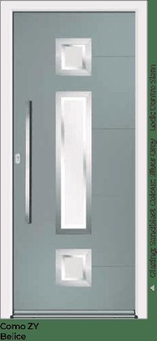 Silver Grey Aluminium Entrance Door in Como-ZY-Belice Style with Sandblast Glazing and Center Slam Lock
