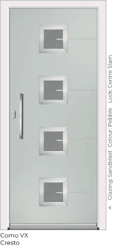 Pebble Coloured Aluminimu Entrance Door in Como-VX-Cresto Style with Sandblast Glazing and Centre Slam Lock