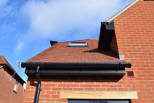 Anthracite grey fascia, gutter and downpipe