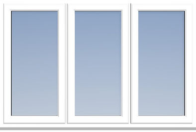 uPVC window with Dummy sashes and equal glass widths