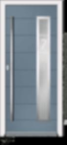 Slate Coloured Aluminium Entrance Door in Vico-V4-Fora style with Sandblast Glazing and Centre Slam Lock