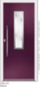 Plum Coloured Aluminium Entrance Door in Delio-Z3-Belice Style with Sndblast Glazing and Centre Slam Lock