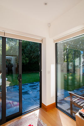 black aluminium two part sliding patio doors