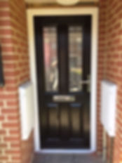 Black composite front entrance door