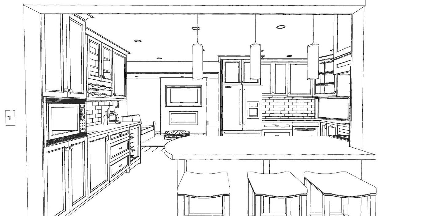 Kitchen Line Drawing by ARTium Design Build