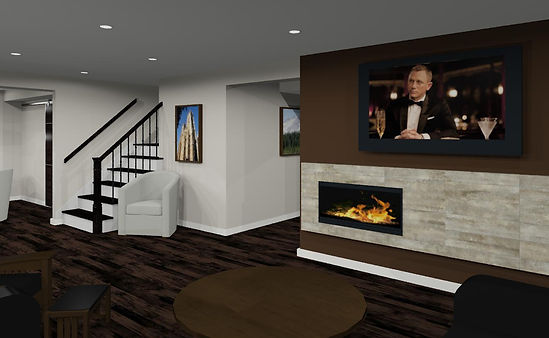 This is an picture of a 3D rendering detail of this basement renovation project. When our interior designer is designing a basement space they use 3D design to go along with our basement floorplans. Award winning design an exceptional renovation quality. Call Just Basements today.
