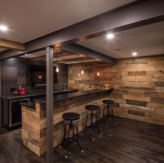 Custom Basement Bar, secret door, design build Ottawa Basements
