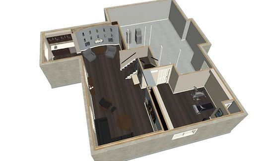 This is an image of one of our basement renovation project in design. This is a 3D rendering of a basement we are presenting here. Great design and great renovations start at Just Basements. Ottawa's finest renovation firm.