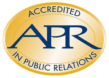 Accredited in Public Relations logo. A gold oval with blue lettering of A P R.