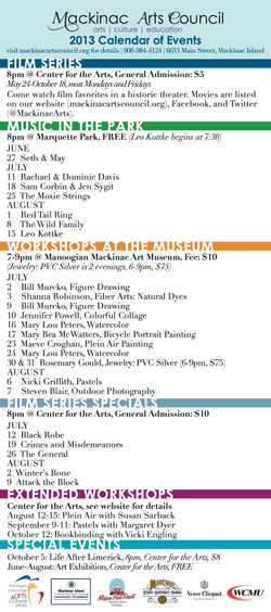 Arts Events Rackcard (Back)
