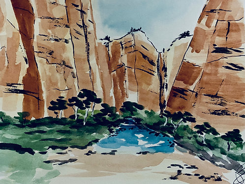 Red Rocks Original Watercolor