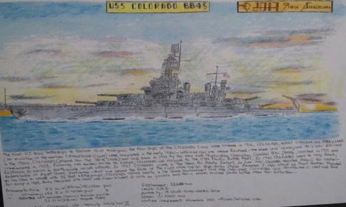 USS Colorado-Pen and Ink