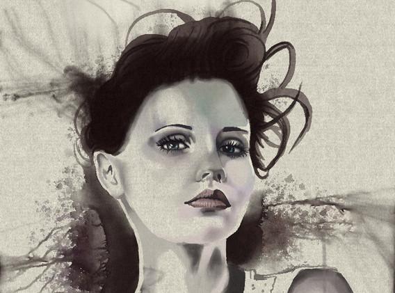watercolor portrait rust