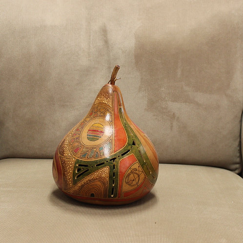 Abstract Shapes and Carvings Tear Drop Body Hardshell Gourd