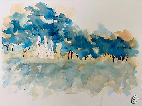 Blue Trees Original Watercolor