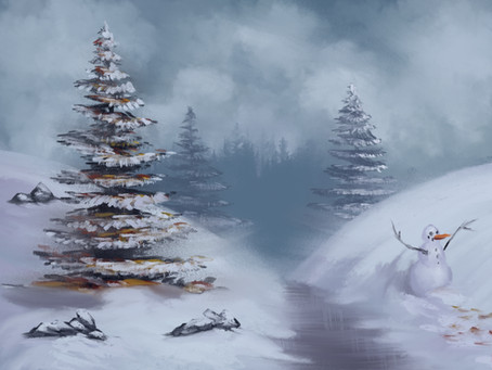 Today's LIVE stream painting, Bob Ross snow