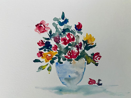 Red and Yellow Roses Original Watercolor