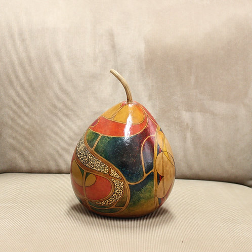 Abstract Shapes with Carvings Round Body Hardshell Gourd
