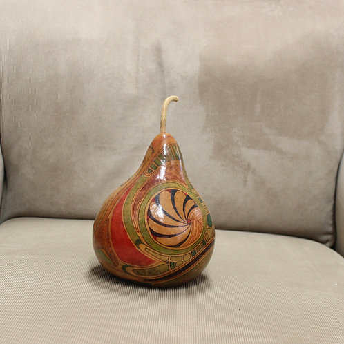 Abstract Shapes Small with Carvings Hardshell Bottle Body Gourd