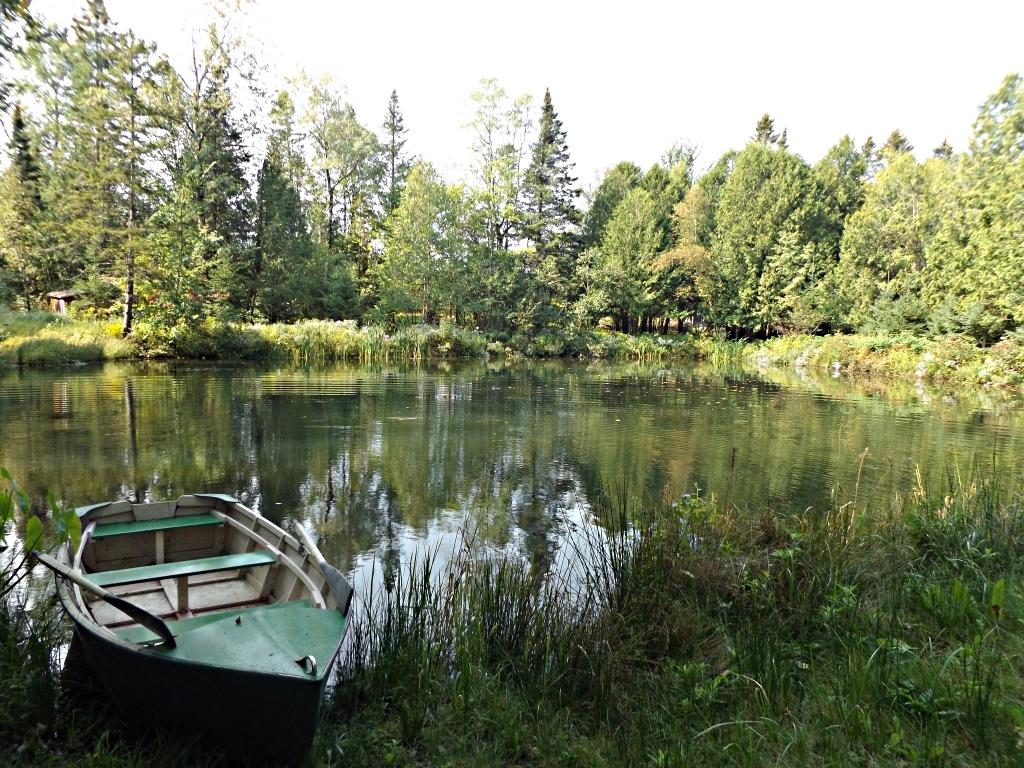 vue de l'étang et chaloupe