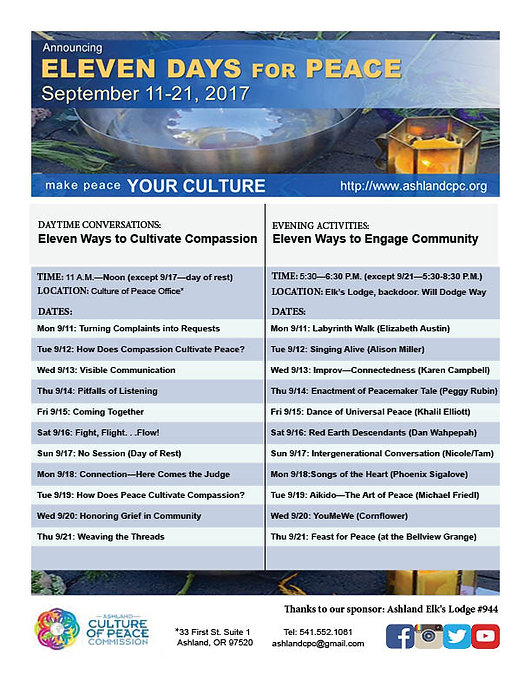 Eleven Days for Peace 2017 - Ashland Culture of Peace