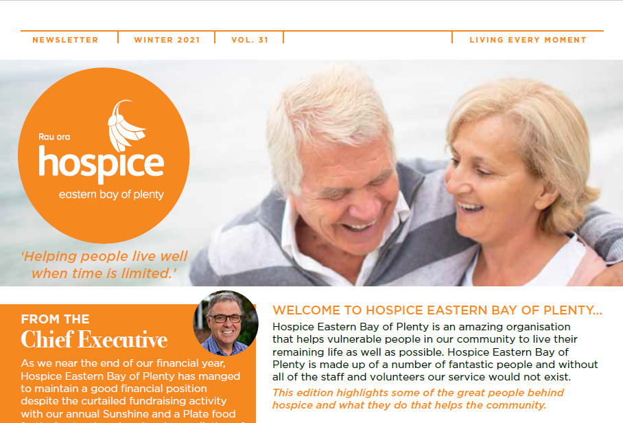 Living Every Moment newsletters provide updates and information about what's happening at Hospice! You will find interesting articles about people, events, trending topics, the Hospice shops and more.