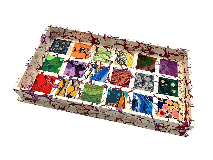 Wooden Specimen Tray Nº 2, Square Mosaic on Cream & Purple