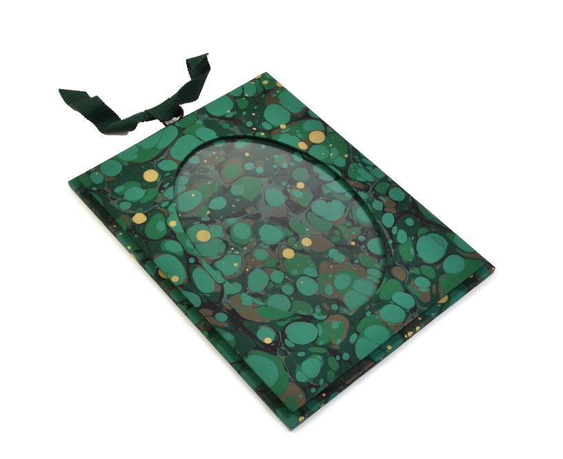 "3.5 x 5"" Hanging Picture Frame in Deep Green Spot"