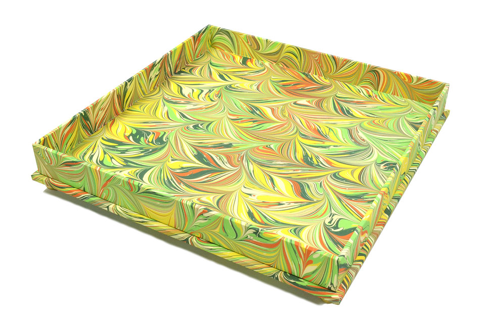 """9"""" Square Valet Tray in Lime Feather"""