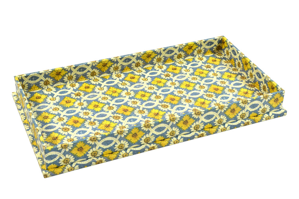 """4x8"""" Rectangular Valet Tray in Yellow Floral"""