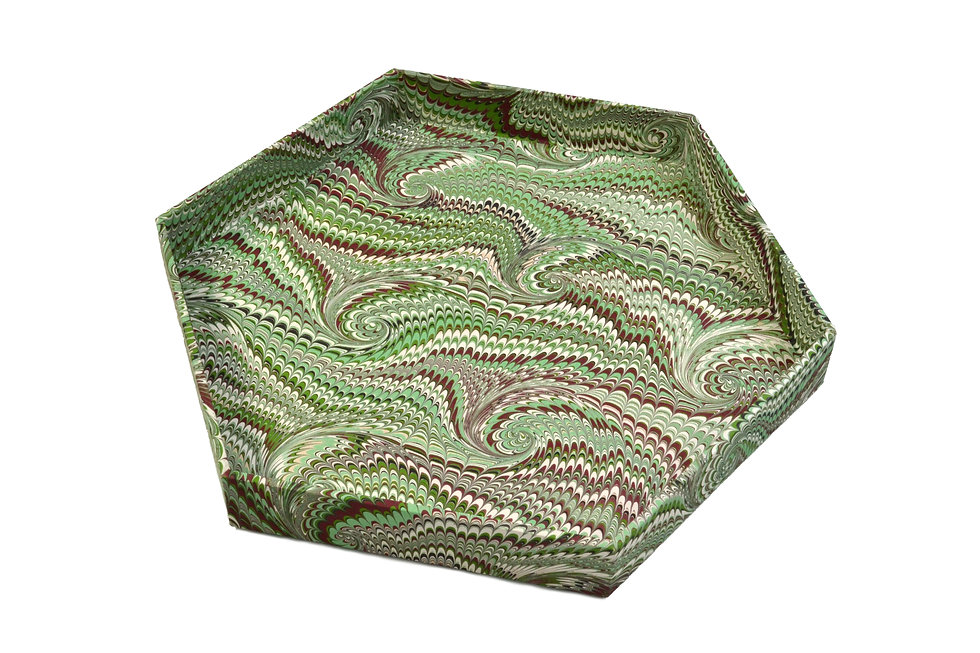 """8"""" Honeycomb Tray in Green-Brown French Curl"""