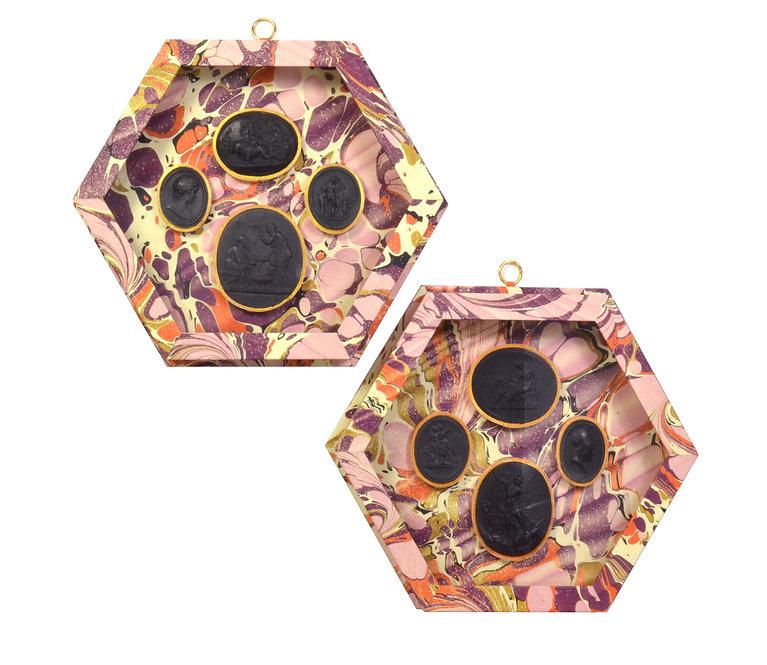 Raspberry Hexagonal Shadow Box Pair with Black Intaglios