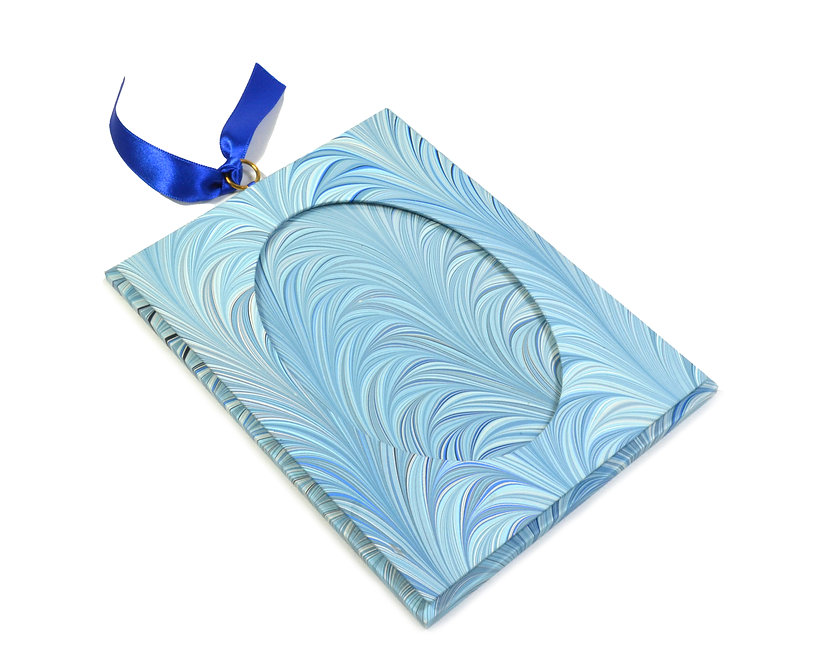 """3.5 x 5"""" Hanging Picture Frame in Blue Feather"""