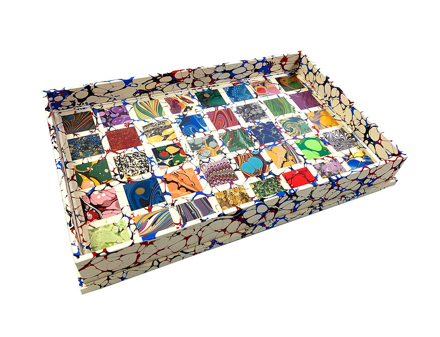 Large Wooden Specimen Tray Nº 5, Square Mosaic on Cream