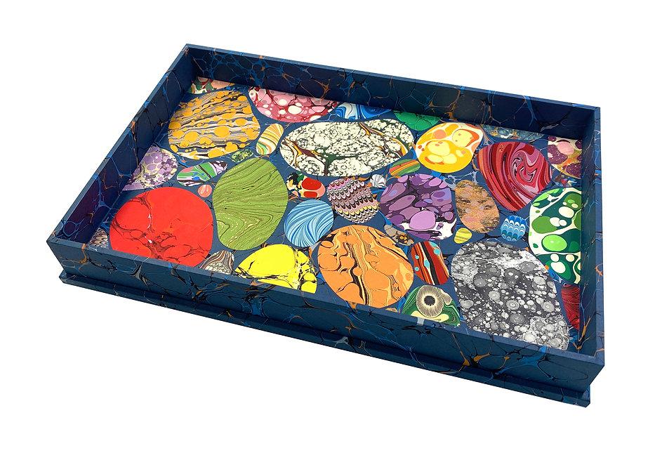 Large Wooden Specimen Tray Nº 4, Pebble Mosaic on Blue