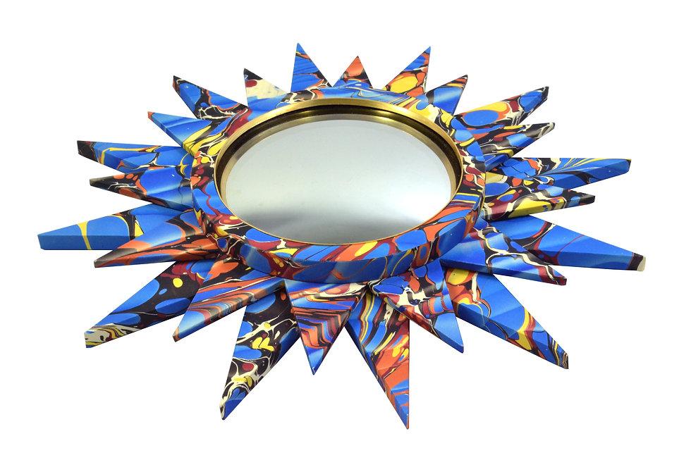 Convex Mirror Nº 2, Blue Spanish Ripple