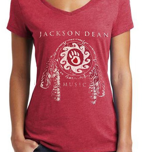 Ladie's V-Neck- Available in Red & Gray