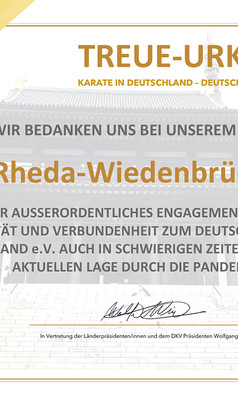 Anerkennung vom DKV an Asahi Karate Rheda-Wiedenbrück