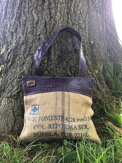 Coffee Tote Purple Vegan Leather