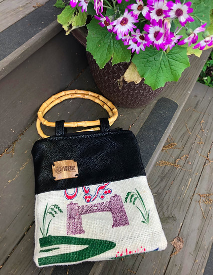 Rice Evening Purse Black Vegan Leather