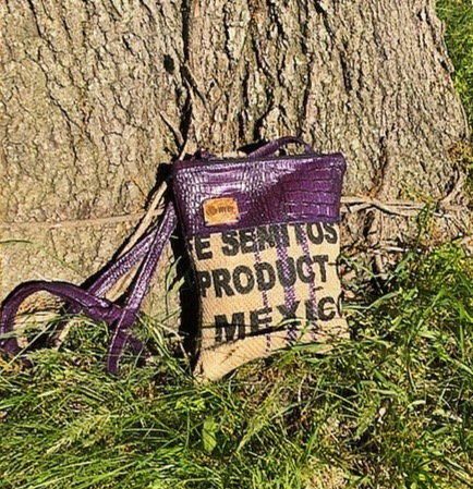Coffee Purse Purple Vegan Leather