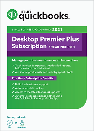 QuickBooks Desktop Premier Plus 2021 Accounting Software - PC Download + CD