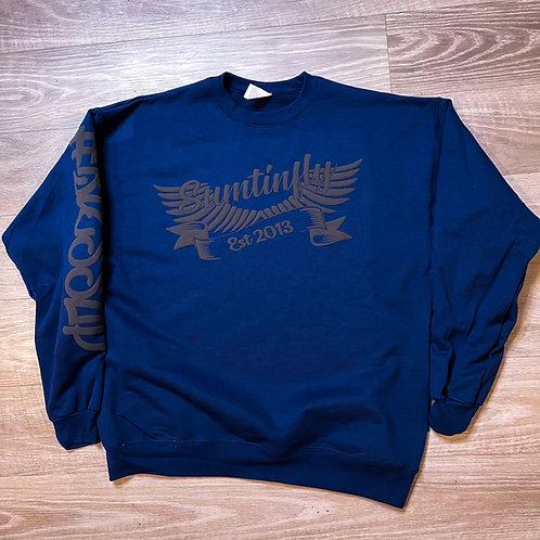 Ribbon & Wings Crewneck Sweatshirt (Navy Blue/Grey)