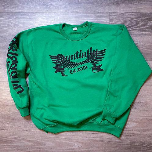 Ribbon & Wings Crewneck Sweatshirt (Kelly Green/Black)