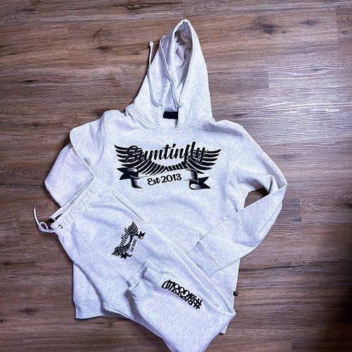 White Vintage Heather Sweatsuit/ Ribbon & Wings Logo