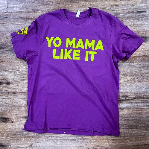 Yo mama like it tee Purple/Safety Green
