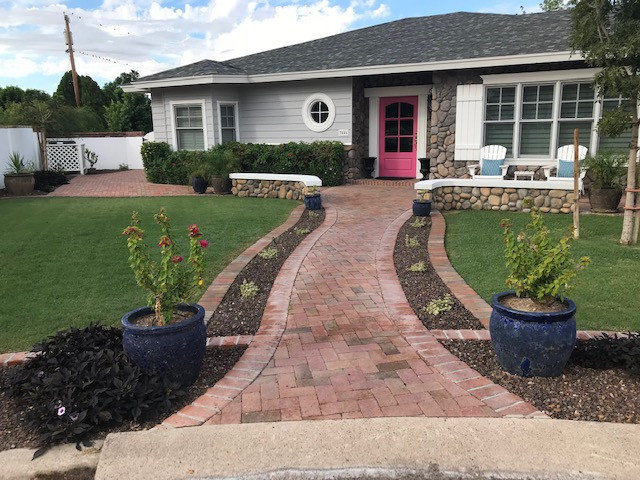 Front Yard Old World Brick Designs with Seatwalls
