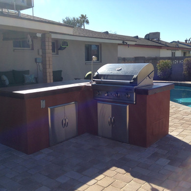 L-Shape BBQ with Concrete Countertop