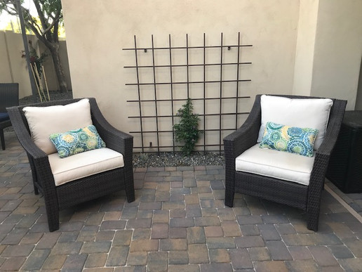 Patio Pavers and Metal Trellis